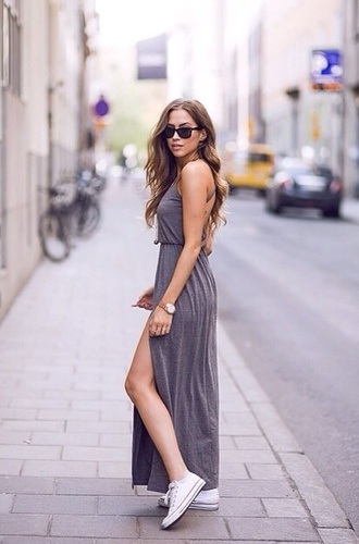 dress grey beautiful grey dress summer dress casual dress grey long dress maxi jersey maxi dress jersey dress converse sunglasses watch kenza shoes jewels side split maxi dress spring dress white converse grey maxi dress gray dresses grey long dress long maxi skirt slit dress adjustable straps summer asos