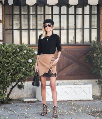 skirt tumblr asymmetrical asymmetrical skirt mini skirt nude skirt top black top boots ankle boots leopard print fisherman cap bag black bag
