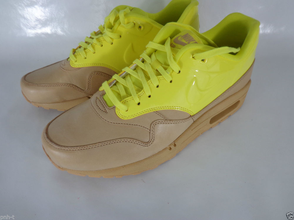 Nike Air Max 1 VT QS Tan Brown Gloss Yellow Trainers UK 7 5 and 8 BNWOB | eBay
