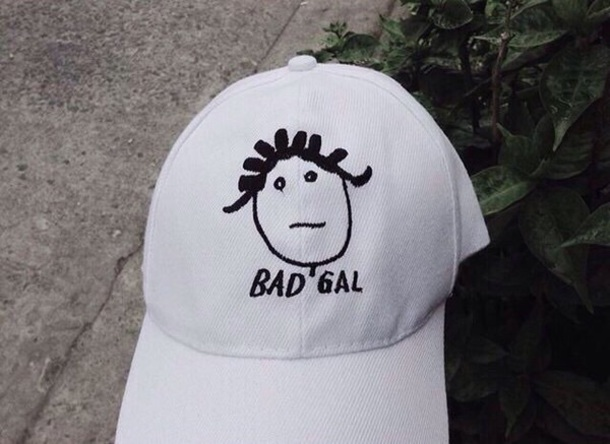 hat bad gal cap white