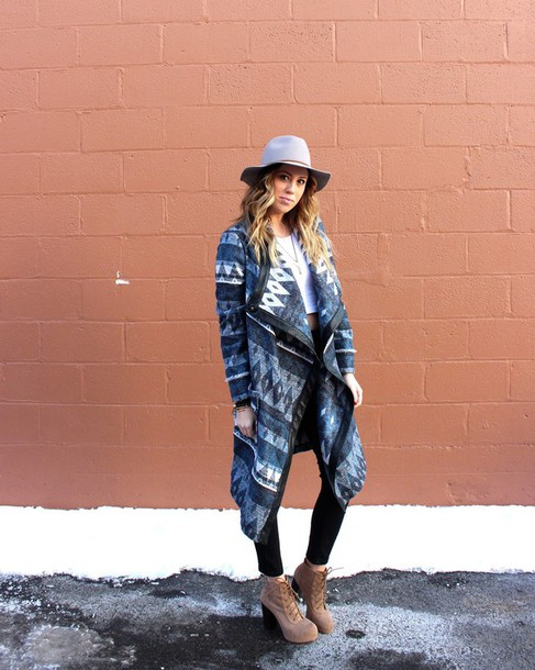 the whiskey wolf blogger tribal cardigan platform lace up boots fedora winter outfits jacket jeans shoes top jewels hat printed coat