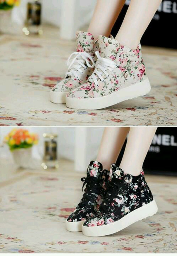shoes trendy clothes flowers sneakers floral bag