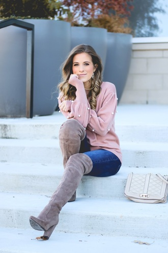 thedaintydarling blogger sweater jeans shoes jewels bag pink sweater boots over the knee boots grey boots winter outfits