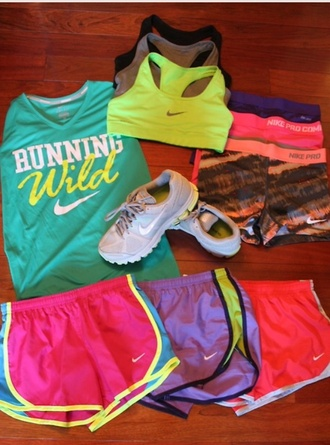 shorts nike running workout excercise nike running shoes neon bright sports bra neon sports bra neon shorts neon nike shorts shirt pastel light comfort healthy new me serena quote on it compression shorts shoes perfect healthy fit 2014