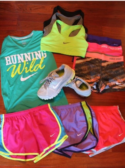 serena shoes shirt shorts nike running workout excercise nike running shoes neon bright sports bra neon sports bra neon shorts neon nike shorts pastel light comfort healthy new me plain words compression shorts perfect healthy fit 2014 all i want