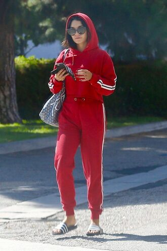 sweater sweatshirt sweatpants red sportswear hoodie slide shoes vanessa hudgens
