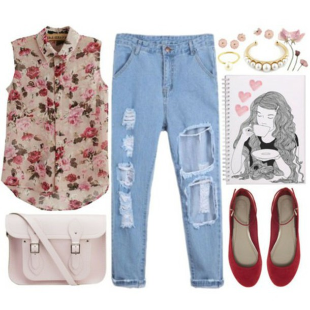 tank top roses romantic jeans
