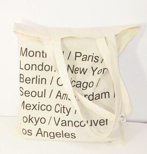 Cities name tote bag paris bag new york bag by aandadesignsss