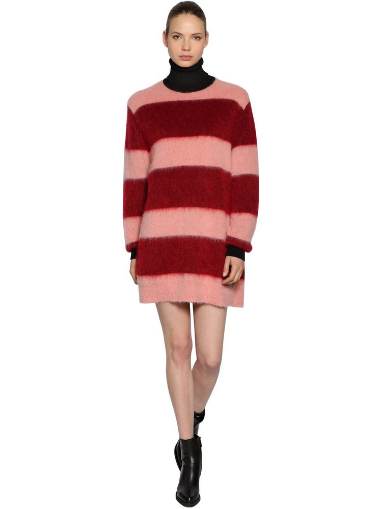 SPORTMAX Striped Mohair Knit Dress in pink / red