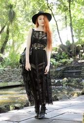 dress,black hat,black sheer dress,black bralette,black and gold belt,halloween outfit,black combat boots