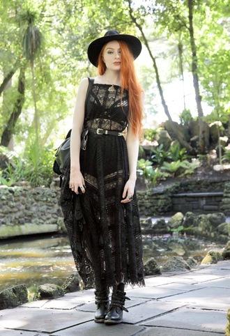 dress black hat black sheer dress black bralette black and gold belt halloween outfit black combat boots