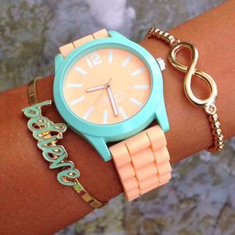 mint jewels believe melon bangle silicone infinity beaded bracelets