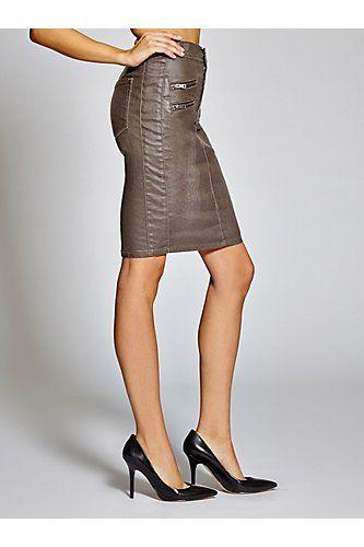 Guess jeans new womens guess longette moto pencil skirt sz 25 premium quality