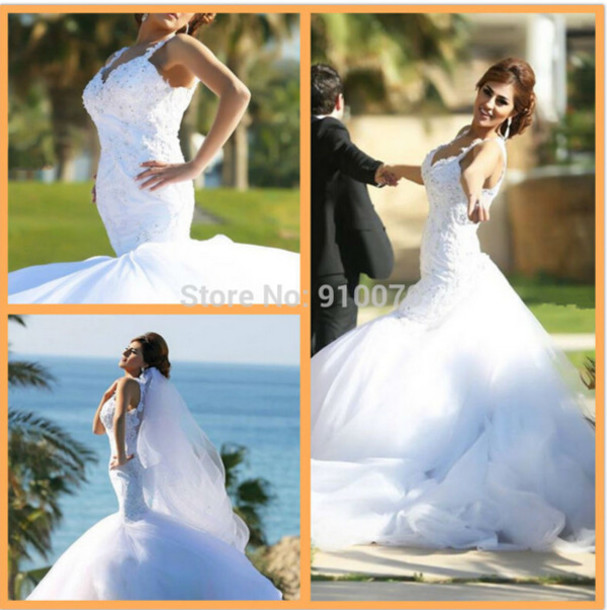 dress wedding dress bridal gown elegant mermaid wedding dress white bridal dress