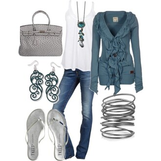 blouse clothes bag purse short top shoes sandals bracelets silver ruffle earrings necklace sweater jeans pants blue blue sweater tank top bangle long sleeves jacket