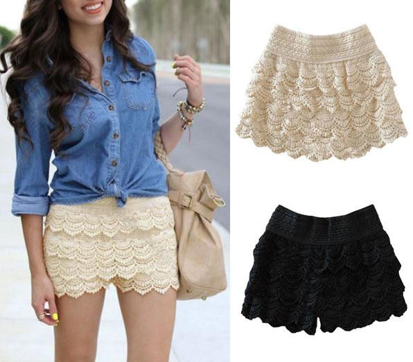 Korean Womens Fashion Sweet Cute Crochet Tiered Lace Shorts Skorts Short Pants J | eBay