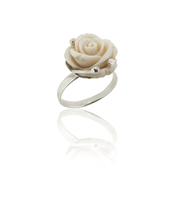 White Silver Rose Ring | Silver Ring | Silver Jewellery | Stack Rings | BOHEM