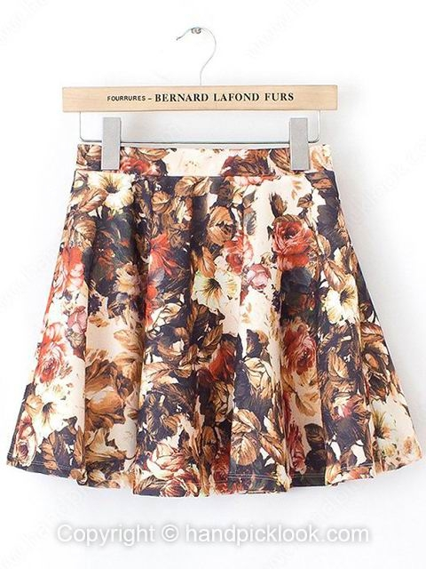 Brown Floral Print Pleated Skirt - HandpickLook.com