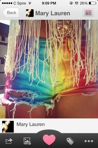 shorts rainbow cutoffshorts