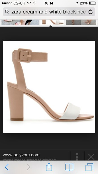 shoes nude white block heel