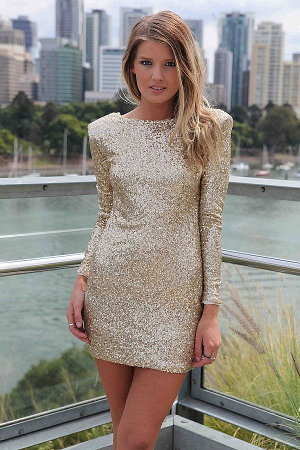Gold Sequin Dress - Gold Sequin Long Sleeve Bodycon | UsTrendy