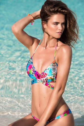 top reversible bikini top halter top luli fama print swimwear bikiniluxe