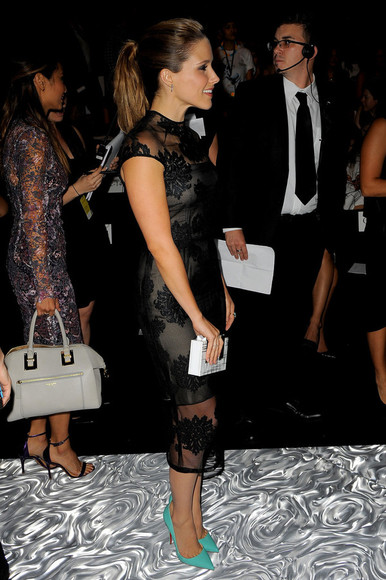 sophia bush dress lace dress black little black dress fashion week 2014