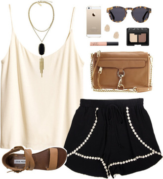 shorts black black shorts pom pom shorts blouse bag