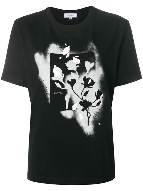 Carven - floral print T-shirt - women - Cotton - XS, Black, Cotton