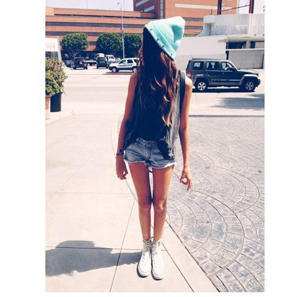 shorts hat beanie studds beany denim jeans black top shoes hipster cute hot sweater