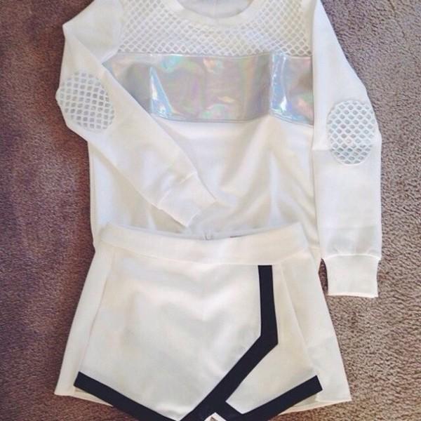 t-shirt white net silver silver glitter shorts