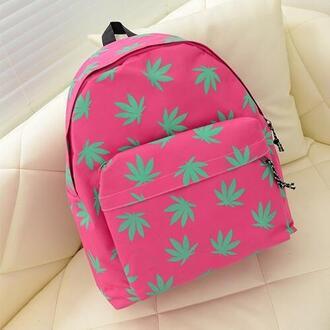 bag pink bag weed print