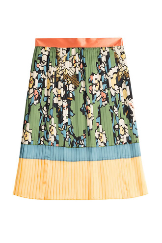 skirt pleated skirt pleated silk green