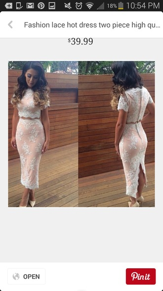 dress lace dress nude dress two piece dress set