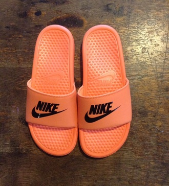 shoes nike nike slippers orange shoes