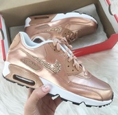 shoes,rose gold,diamonds,air maxes,nike,nike air,air max,tan,nike sneakers,nude,bling