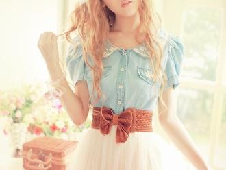 dress bow collar blue skirt waist belt shirt cute floral flowers blue shirt vintage light blue girly