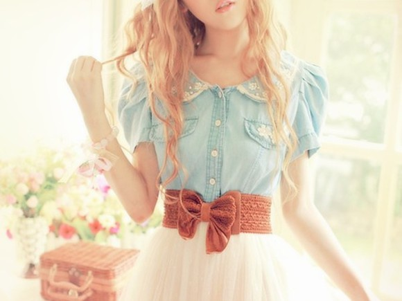 dress denim dress collar blouse blue shirt skirt brown belt blue denim blue dress blue denim beige cute girly