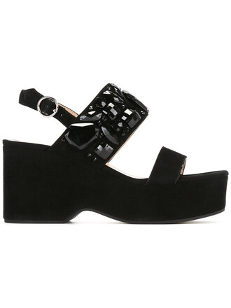 women plastic embellished sandals wedge sandals leather black shoes