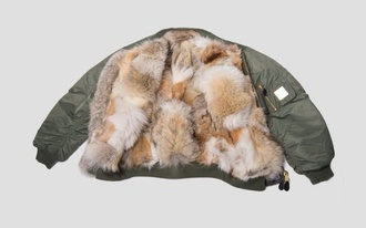 jacket kacket fur realfur bomber jacket green fashion women kylie jenner kardashians style