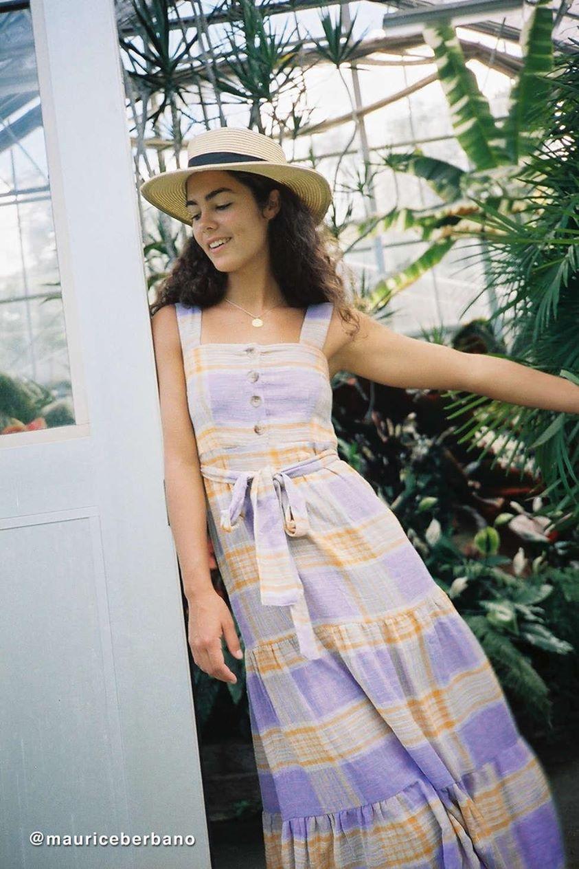 UO Sankaty Linen Ruffle Maxi Dress