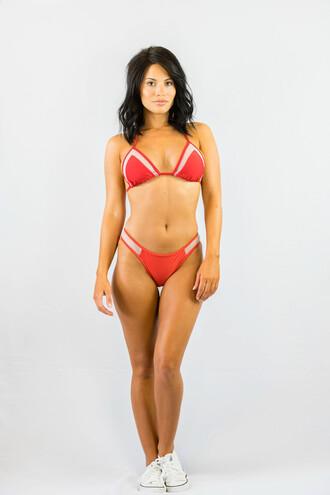 swimwear red bikini sexy summer beach tan hot freevibrationz