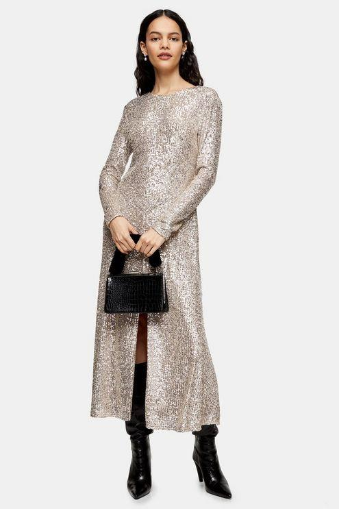 Idol Sequin Midi Dress With Gold Sequins - Gold