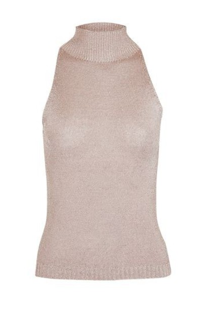 Topshop top knitted top sleeveless metal high high neck