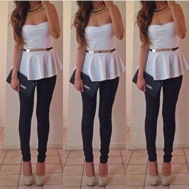 Cute Outfits With White Shirt Top White T-shirt Peplum Cute