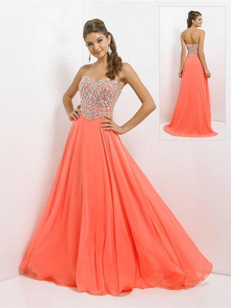 Long Orange Prom Dresses