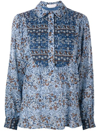 shirt boho floral print blue top