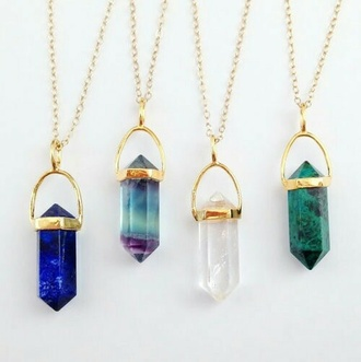 pendant gold necklace crystal quartz gemstone jewelry boho jewelry