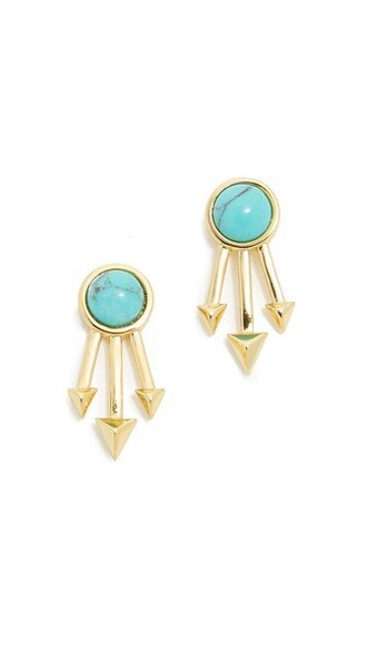 earrings stud earrings gold turquoise jewels