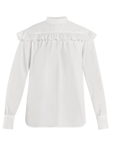 Helmut Lang shirt ruffle cotton white top
